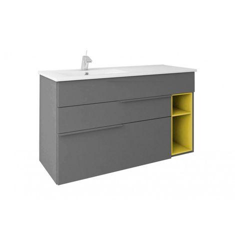 Mueble de baño suspendido NOOK estilo moderno + lavabo de cerámica - Gris mostaza - Ancho 100 cm