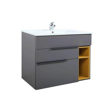 Mueble de baño suspendido NOOK estilo moderno + lavabo de cerámica - Gris mostaza - Ancho 80 cm