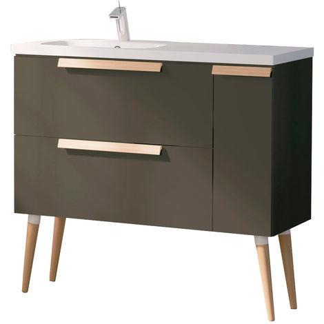 Mueble de baño suspendido Nordic + Lavabo cerámica - Estilo moderno - Melamina gris de alta calidad - Anchura 100 cm