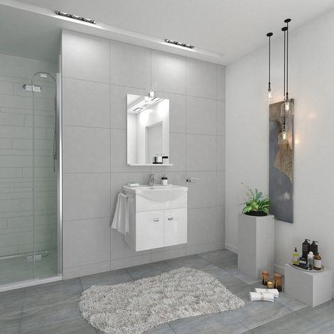 Mueble de baño suspendido Ocean 55 cm en madera blanco brillante con espejo y lavabo | Blanco brillo - Standard - 55 cm