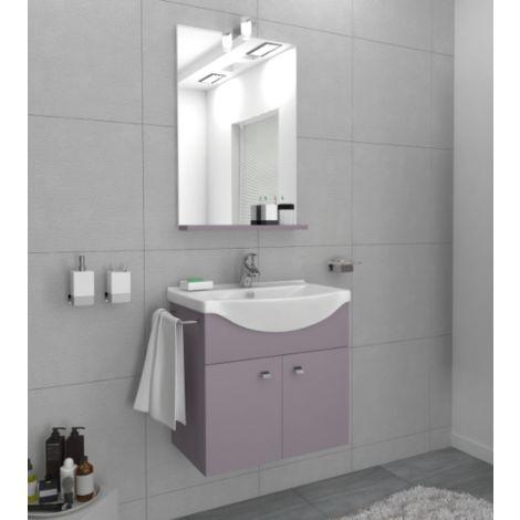 Mueble de baño suspendido Ocean 55 cm en madera Pastel púrpura con espejo y lavabo | Standard