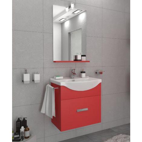 Mueble de baño suspendido Ocean 55 cm en madera rojo imperial con espejo y lavabo | Standard