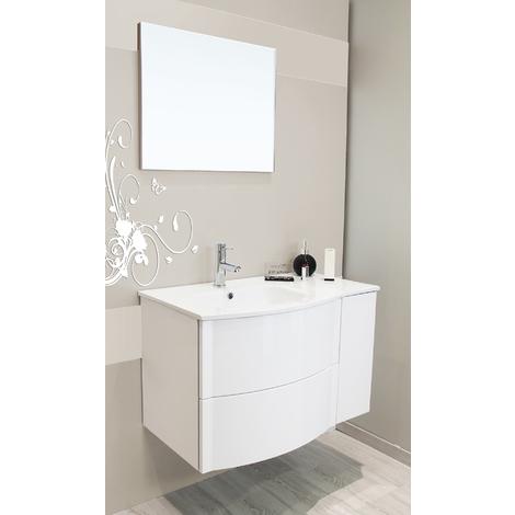Mueble de bano suspendido RONY 80 blanco Dimensiones : 80,5X48x52 cm- Aqua+