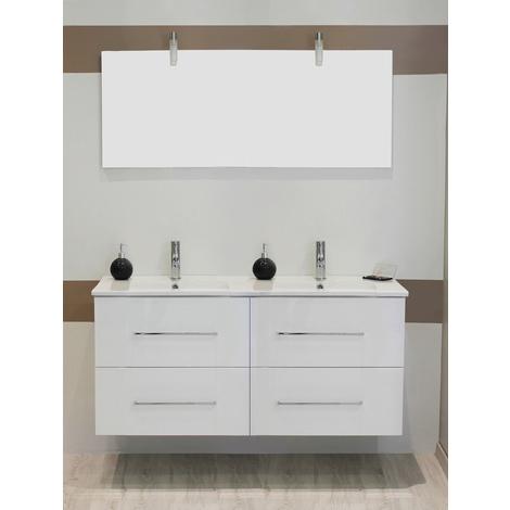 Mueble de bano suspendido TANATH 120 BLANCO Dimensiones : 121x46,5x57 cm- Aqua+