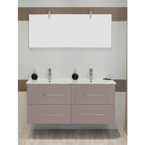 Mueble de bano suspendido TANATH 120 Topo Dimensiones : 121x46,5x57 cm- Aqua+