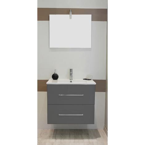 Mueble de bano suspendido TANATH 60 gris Dimensiones : 61x46,5x57 cm- Aqua+