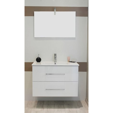 Mueble de bano suspendido TANATH 80 Blanco Dimensiones : 81x46,5x57 cm- Aqua+