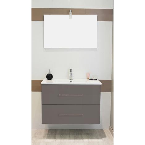 Mueble de bano suspendido TANATH 80 gris Dimensiones : 81x46,5x57 cm- Aqua+