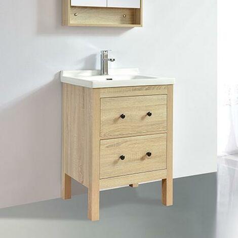 Mueble de baño TYPO 60 cm acabado en fibra de madera roble con lavabo de cerámica