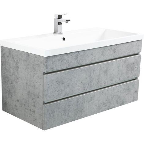 Mueble de baño Via 100 Gris hormigón con cajones sin tiradores
