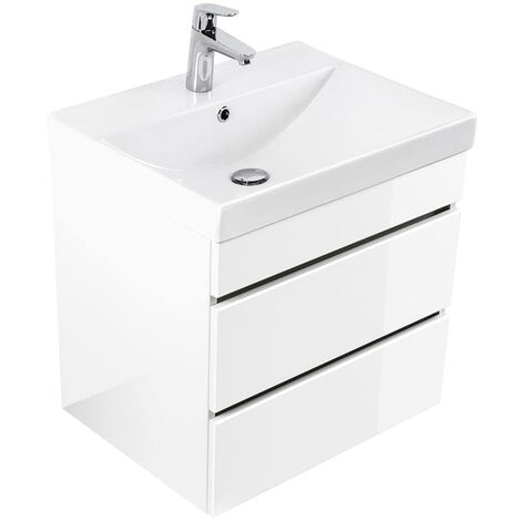 Mueble de baño Via 60 Blanco brillante con cajones sin tiradores