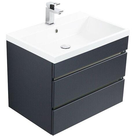 Mueble de baño Via 60 Negro satinado con cajones sin tiradores