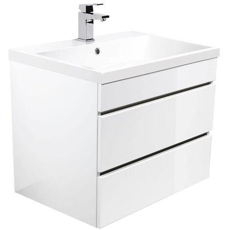 Mueble de baño Via 70 Blanco brillante con cajones sin tiradores