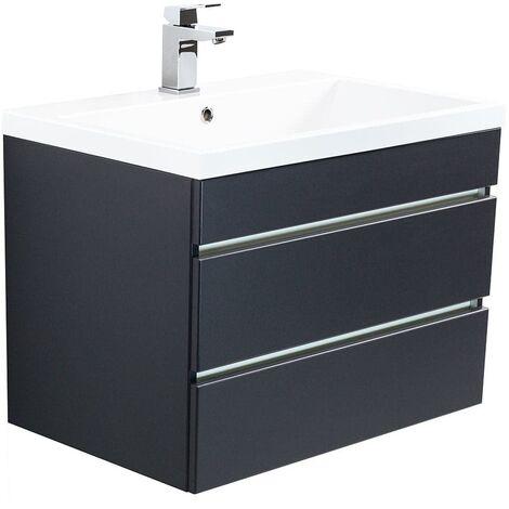 Mueble de baño Via 70 Negro satinado con cajones sin tiradores