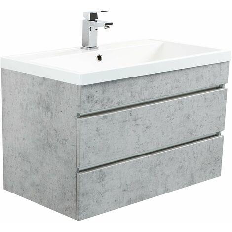Mueble de baño Via 80 Gris hormigón con cajones sin tiradores