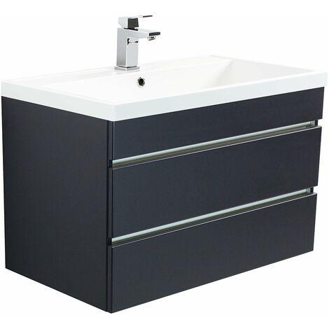 Mueble de baño Via 80 Negro satinado con cajones sin tiradores