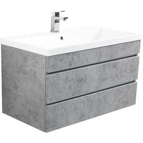 Mueble de baño Via 90 Gris hormigón con cajones sin tiradores