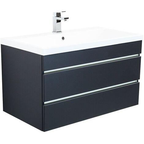 Mueble de baño Via 90 Negro satinado con cajones sin tiradores