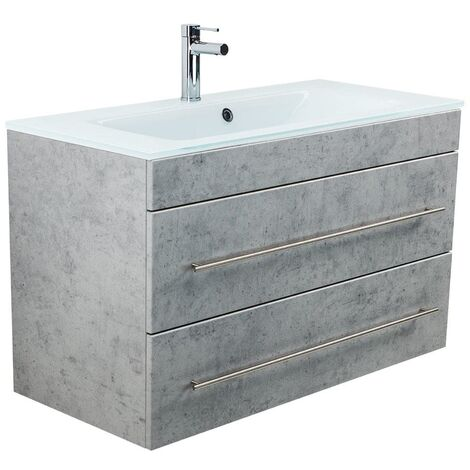 Mueble de baño Vitro 1000 con lavabo de cristal Gris hormigón