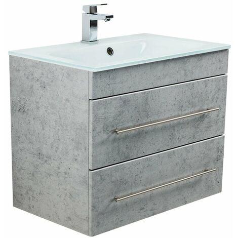 Mueble de baño Vitro 750 con lavabo de cristal Gris hormigón