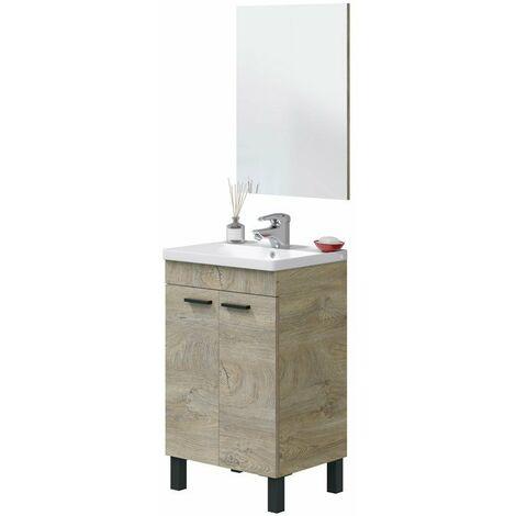 Mueble de baño y espejo roble alaska industrial 50x40 cm (LAVABO OPCIONAL)