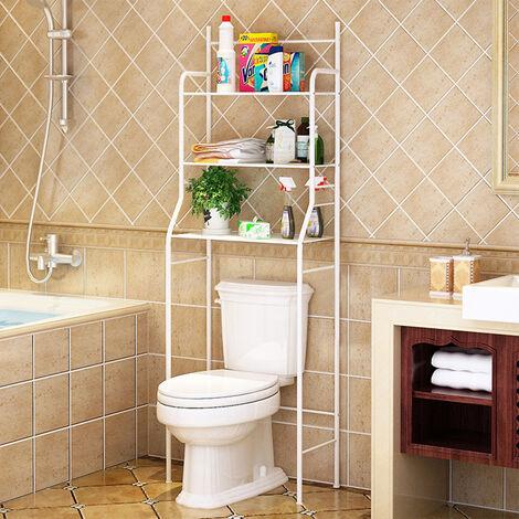 Mueble de baño,columna de inodoro,mueble con estante de baño de 3 filas - Blanco
