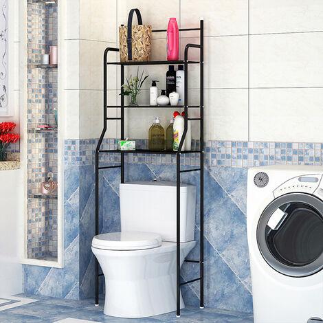 Mueble de baño,columna de inodoro,mueble con estante de baño de 3 filas - Negro