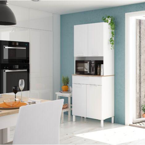 Mueble de cocina 72x40x186 cm Blanco mate y roble canadiense | Blanco artik e Roble canadian