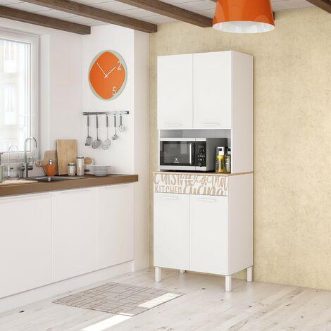 Mueble de cocina 72x40x186 cm Blanco mate y roble canadiense con impresión decorativa | roble y blanco