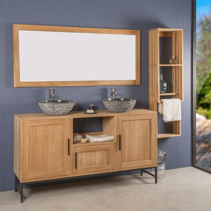 Mueble de cuarto de baño doble PABLO de teca 160 cm - 4381
