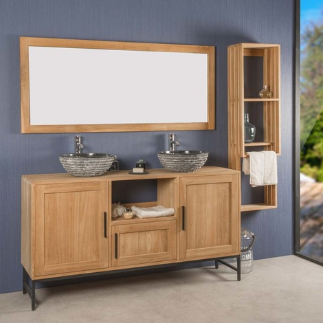 Mueble de cuarto de baño doble PABLO de teca 160 cm