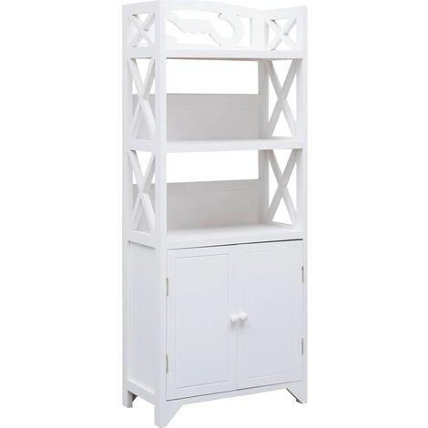 Mueble de cuarto de bano madera Paulownia blanco 46x24x116 cm