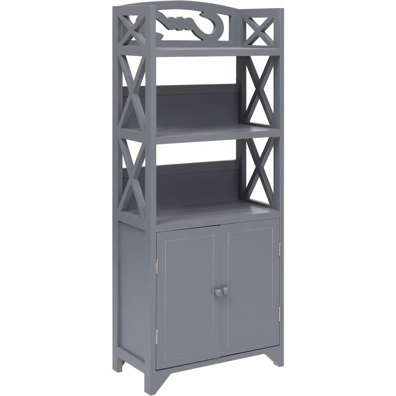 Mueble de cuarto de baño madera Paulownia gris 46x24x116 cm