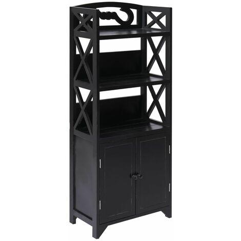 Mueble de cuarto de baño madera Paulownia negro 46x24x116 cm