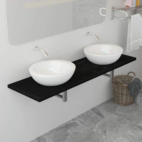 Mueble de cuarto de baño negro 160x40x16,3 cm