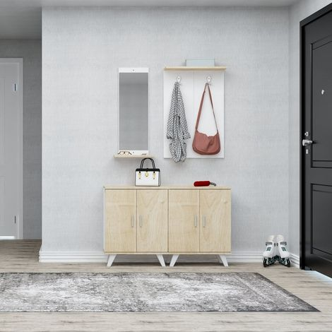 Mueble de Entrada Necef - Perchero, Armario, Zapatero con Puertas, Estantes, Espejo. - Roble, Blanco en Madera, Metal, Plastico, 60 x 17 x 90 cm