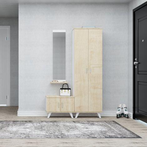 Mueble de Entrada Seylan - Perchero, Armario, Zapatero con Puertas, Estantes, Espejo. - Roble, Blanco en Madera, Metal, Plastico, 60 x 35 x 194 cm