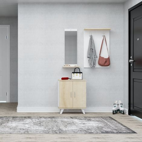 Mueble de Entrada Turmalin - Perchero, Zapatero - con Espejo, Puertas, Estantes, Ganchos - Roble, Blanco en Madera, Metal, Plastico, 60 x 17 x 90 cm