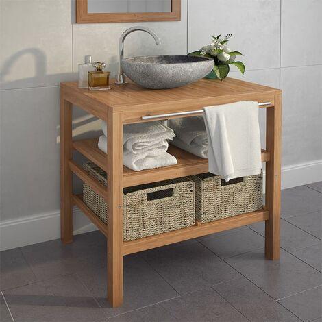 Mueble de lavabo con 2 cestas madera teca maciza 74x45x75 cm - Marrón