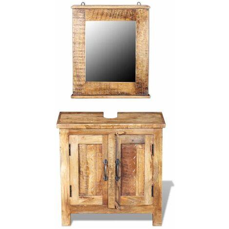 Mueble de lavabo con espejo madera de mango maciza