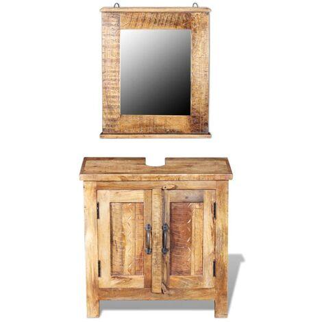 Mueble de lavabo con espejo madera de mango maciza - Marrón