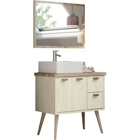 Mueble de lavabo estilo vintage con cajones y baldas, lavabo incluido, guias de metal,,93x82x46 cm(alto x ancho x profundo), color combinado cambrian y pino, colección Hydra