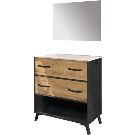 Mueble de lavabo Hudson moderno industrial con dos cajones y estante, detalles negros, lavabo incluido,espejo incluido, guias soft, 90x81x47 cm(alto x ancho x profundo), color imitación a mármol y roble gold