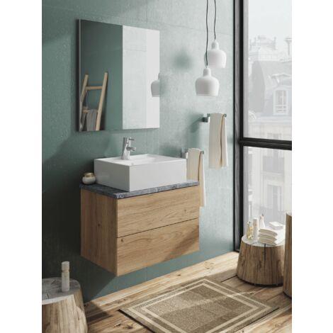 Mueble de lavabo moderno Nara, dos cajones con guias soft, lavabo inculuido, 58x60x45 cm(alto x ancho x profundo), color imitación a mármol y roble gold