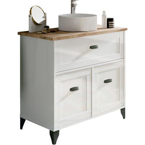 Mueble de lavabo Toscana estilo vintage, lavabo incluído, guías soft en cajón, 95x82x47 cm(alto x ancho x profundo), color combinado blanco y roble cambrian