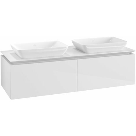 Mueble de lavabo Villeroy & Boch Legato B23400, 1400x380x500mm, 2 lavabos, color: Blanco brillante - B23400DH