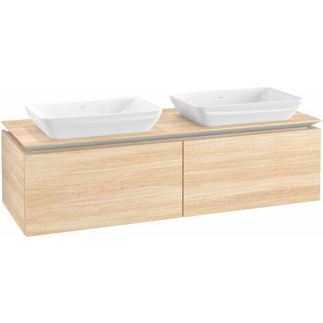 Mueble de lavabo Villeroy & Boch Legato B23400, 1400x380x500mm, 2 lavabos, color: Elm Impresso - B23400PN