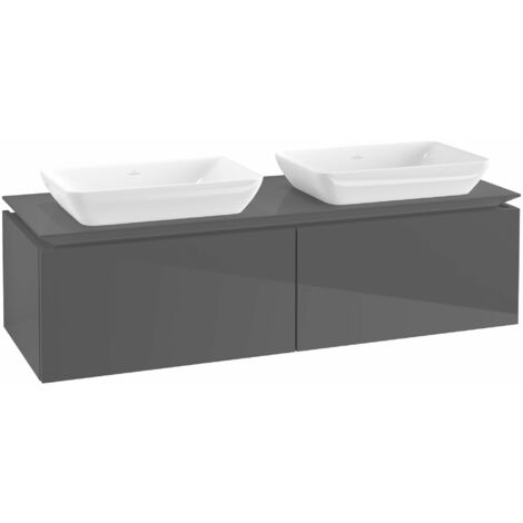Mueble de lavabo Villeroy & Boch Legato B23400, 1400x380x500mm, 2 lavabos, color: Gris brillante - B23400FP