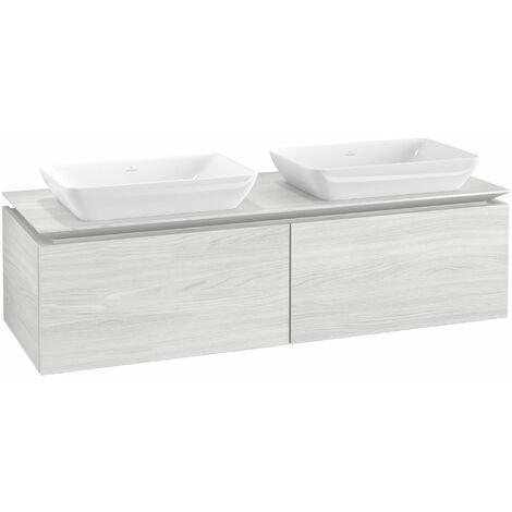 Mueble de lavabo Villeroy & Boch Legato B23400, 1400x380x500mm, 2 lavabos, color: madera blanca - B23400E8