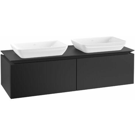 Mueble de lavabo Villeroy & Boch Legato B23400, 1400x380x500mm, 2 lavabos, color: Negro Mate Laca - B23400PD